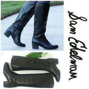Sam Edelman Loren Black Leather Riding Knee Boots